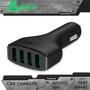 Aukey CC-01 Multiple 4-Port USB Car Charger 48W 9.6A with AIPower Tech
