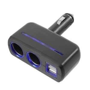 OLESSON 1630 90° Rotary Joint 120W 1 to 2 Cigarette Lighter Sockets + Dual USB Car Charger - Black