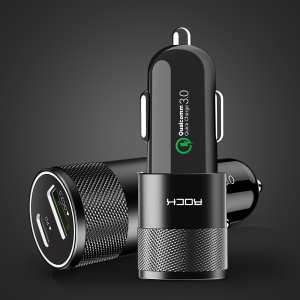 ROCK H5-PD Type-C + QC 3.0 USB Port Car Charger for Phones, Tablets and PCs - Black