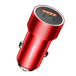 BASEUS Type-C PD + QC3.0 36W Fast Car Charger for iPhone Samsung - Red