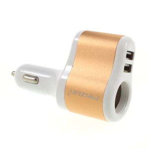 PINZUN CC-009 Fast Charge 3.1A Dual USB Car Charger + Single Cigarette Lighter Socket - Gold