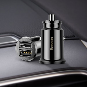 BASEUS Mini Smart Car Charger CE/FCC/ROHS Certified 3.1A Dual USB Quick Charge Car Adapter for iPhone iPad Samsung - Black