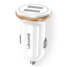 USAMS US-CC050 C4 Mini 2.4A Dual USB Smart Car Charger for iPhone iPad Samsung HTC Sony Huawei LG - White