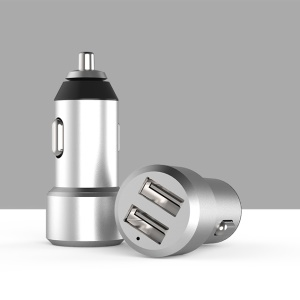 X-LEVEL Metal Series Mini Aluminum Alloy 4.8A Dual USB QC 3.0 Fast Charging Car Charger - Grey