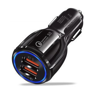 30Q QC 3.0 & AiPower Dual USB Quick Charge Car Charger for Phones and Tablets - Black