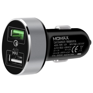 MOMAX UC9 Dual USB Ports Car Charger Adapter with with QC 3.0 - Black