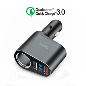 Portable QC3.0 Dual USB 30W Cigarette Lighter Socket Splitter Car Charger with LED Digital Display - Grey
