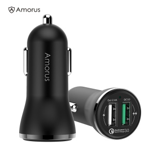 AMORUS CC-37 2.4A + QC3.0 Quick Charge Car Charger [Dual USB Port] for iPhone Samsung Huawei etc.