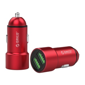ORICO UPM-2U Dual USB Smart Car Charger for iPhone Samsung Huawei etc. - Red