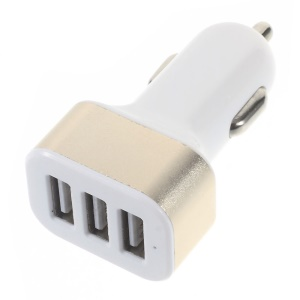3-Port 2.4A USB Car Charger Adapter for iPhone iPad Samsung etc - Gold Color