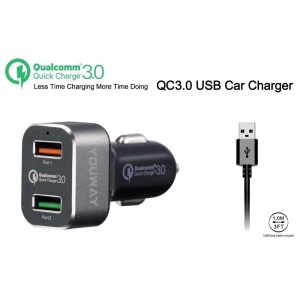 YOUWAY Quick Charge 3.0 Dual USB Car Charger (CE/FCC/RoHS) - Black