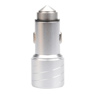 SEZU Circle Lines Aluminum Alloy Two-USB Car Charger 2.1+1A - Silver
