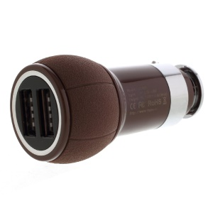D9ELEMENT Barrel Design 2.4A Double USB Car Charger for iPhone iPad Samsung etc - Brown