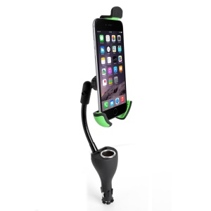 Car Mount 4.8A Dual USB Charger Cigarette Lighter for iPhone 6s/Samsung Note7 Etc - Black