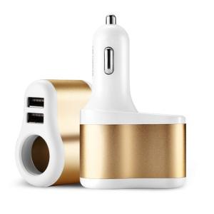 JOYROOM C-M305 3.1A Dual USB Car Charger with Car Cigarette Lighter - Gold Color