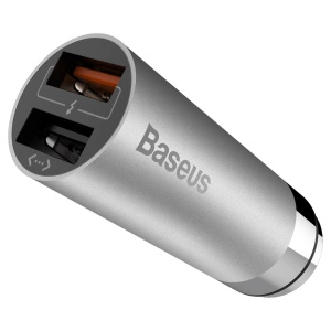 BASEUS CarQ Series QC3.0 Dual USB Car Charger with Shrapnel Interface - Grey