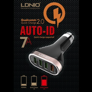 LDNIO C701Q Quick Charge 2.0 4-Port 7A Car Charger Adapter + Micro USB Cable (CE/RoHS/FCC)