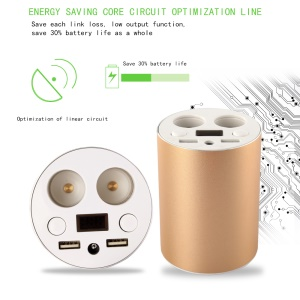 2 USB Ports Car Charger Adapter with Dual Cigarette Lighter Socket for iPhone Samsung