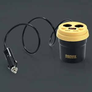 REMAX CE/RoHS Coffee Cup Car Charger 2 USB Output + 2 Cigarette Lighter Extending Ports - Black