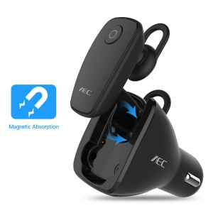 AEC BQ638 5V 2.4A Single USB Car Charger Bluetooth V4.1 Single In-ear Earphone - Black