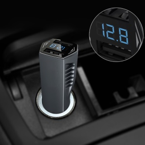 C72 4.8A Dual USB DC 12V / DC 24V Car Charger with LED Display Screen - Black