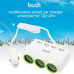BUDI 4 USB Ports Car Charger with 3 Lighter Cigarette Sockets for Mobile Phones/Tablets/Digital Cameras Etc