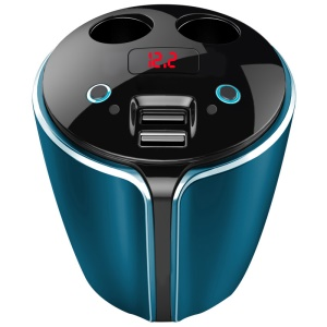 YZD-V9 Fast Charging Dual USB Car Charger Water Cup Holder with 2-Socket Cigarette Lighter