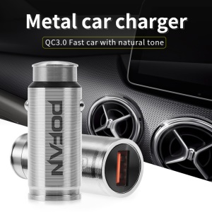 POFAN S4 CE/FCC Single Port QC 3.0 Quick Charge Metal Car Charger for iPhone Samsung Huawei Etc - Silver