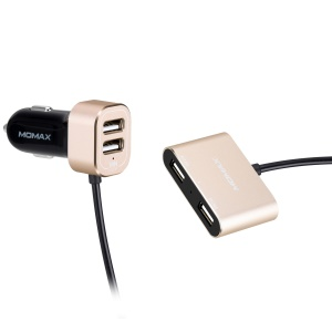 MOMAX 4 USB Ports Passenger Car Charger Kit for Front and Back Seat for Samsung S8 etc. - Gold Color
