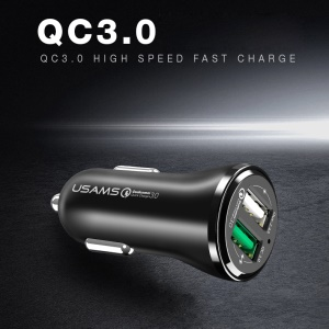 USAMS US-CC028 Dual USB Ports Car Charger Adapter with with QC 3.0 - Black
