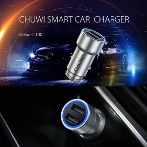 CHUWI Ublue C-100 Dual USB Adapter Car Charger for iPhone Samsung Huawei etc - Sliver