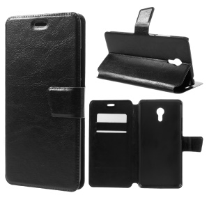 Crazy Horse Leather Card Holder Case for Meizu MX6 - Black
