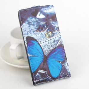 Vertical Flip Leather Cover for Meizu m2 metal / Blue Charm Metal 2 - Blue Butterfly