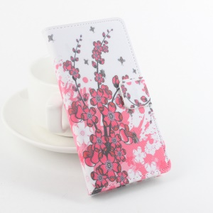 Patterned Leather Stand Flip Cover for Meizu m2 metal / Blue Charm Metal 2 - Plum Blossom