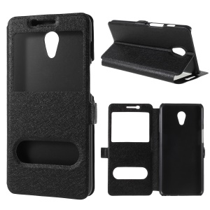 Silk Texture Dual View Window Leather Cover for Meizu M6s - Black