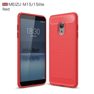 Carbon Fibre Brushed TPU Cell Phone Case for Meizu 15 Lite - Red