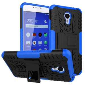 Snap-on Anti-slip PC + TPU Hybrid Case with Kickstand for Meizu m3 note - Blue