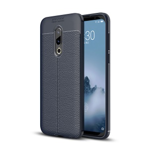 Litchi Texture TPU Mobile Phone Case for Meizu 16 Plus - Dark Blue