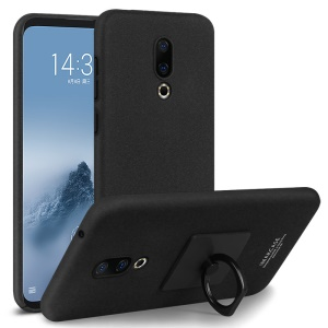IMAK Cowboy Shell Matte Hard Back Casing with Ring Stand + Screen Film for Meizu 16 Plus - Black