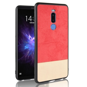 Bi-color Splicing PU Leather Coated PC + TPU Hybrid Case for Meizu Note8 - Red