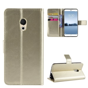 Crazy Horse Wallet Leather Phone Case with Strap for Meizu 15 Lite - Gold
