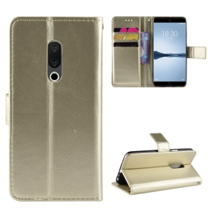 Crazy Horse PU Leather Stand Wallet Phone Case for Meizu 15 Plus - Gold