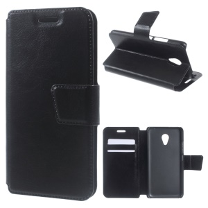 Crazy Horse Leather Flip Case Cover for Meizu m3 / Blue Charm 3 - Black