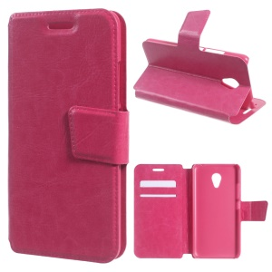 Crazy Horse PU Leather Case Stand Cover for Meizu m3 / Blue Charm 3 - Rose