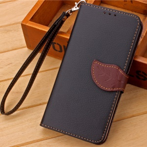 Leaf Style Wallet Leather Stand Case for Meizu MX5 with Lanyard - Black