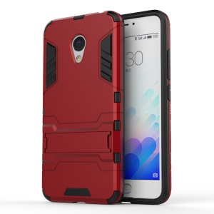 PC TPU Hybrid Cover for Meizu m3 with Kickstand - Red