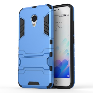 PC TPU Hybrid Phone Case for Meizu m3 with Kickstand - Baby Blue