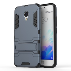 PC TPU Hybrid Back Case for Meizu m3 with Kickstand - Dark Blue