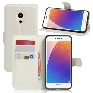 Litchi Skin Leather Wallet Cover for Meizu Pro 6 - White