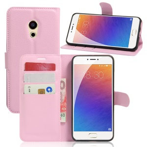 Litchi Skin Leather Wallet Flip Cover for Meizu Pro 6 - Pink